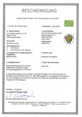Biocertificate german
