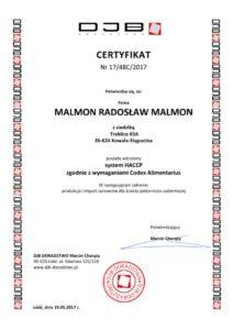 Certyfikat HACCP - MALMON